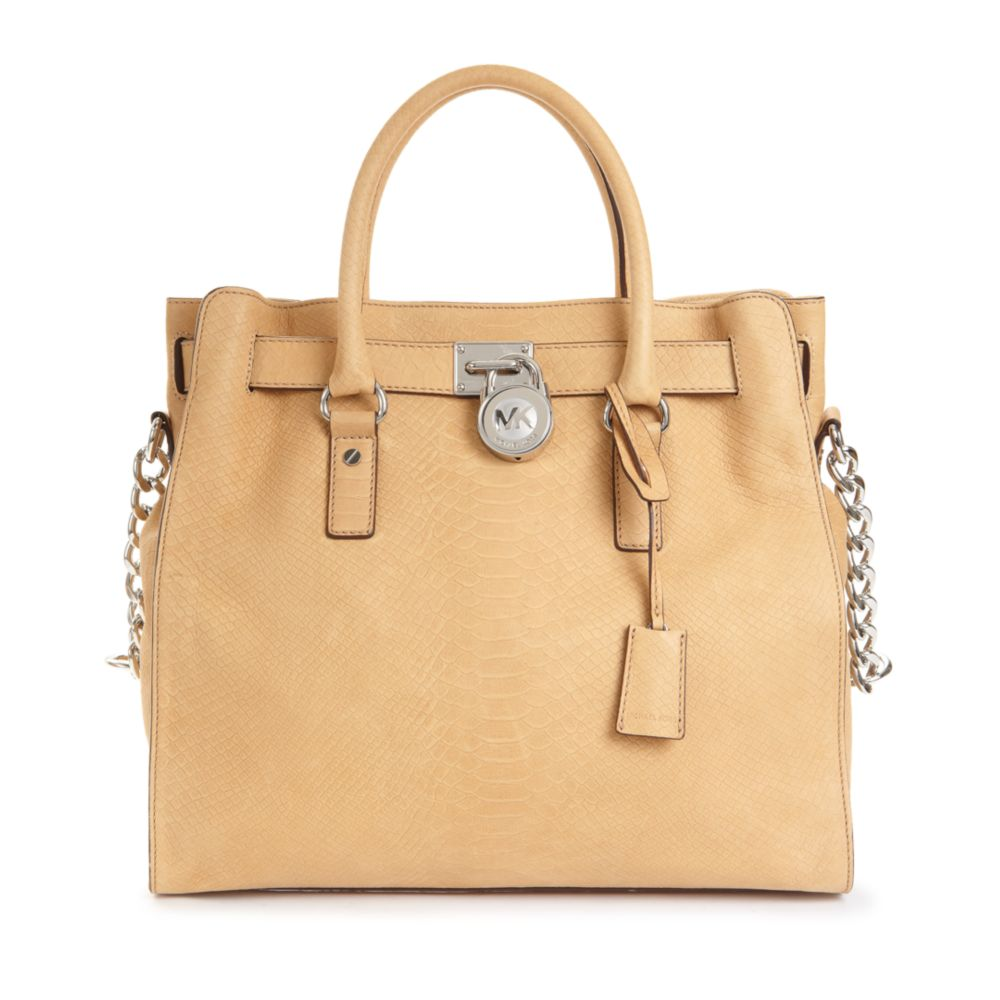 87758eafbbf Lyst - Michael Kors Hamilton Silver Hardware Python North South Tote ...