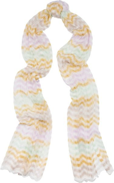 Missoni Zigzag Knitted Scarf in Multicolor (multicolored) - Lyst