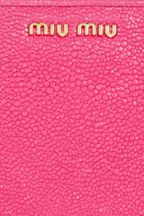 Miu Miu Stringrayeffect Leather Wallet in Pink - Lyst