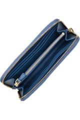 Miu Miu Croceffect Glossedleather Wallet in Blue (powder) - Lyst