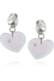 Miu Miu Plexiglass Crystal Heart Clip Earrings - Lyst
