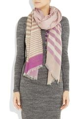 Mulberry Striped Cashmere Scarf in Beige (cream) - Lyst