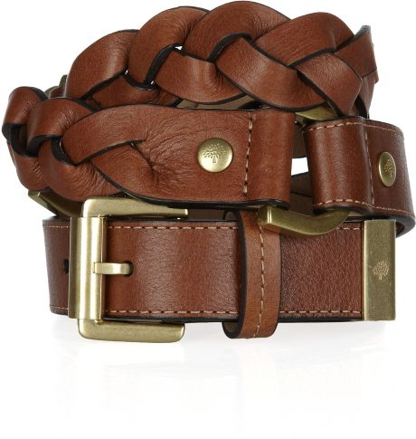 Mulberry Braided Leather Belt in Brown (oak) - Lyst
