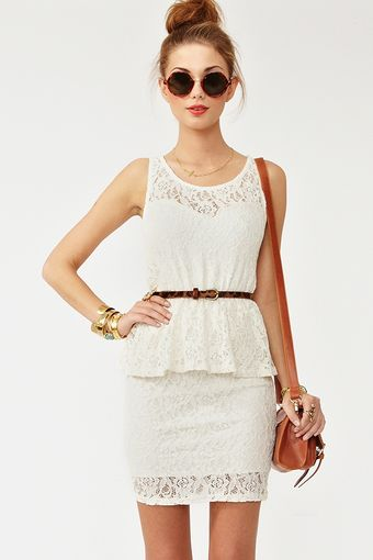 Nasty Gal Lace Peplum Dress - Lyst
