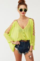 Nasty Gal Cutout Chiffon Top Lime - Lyst