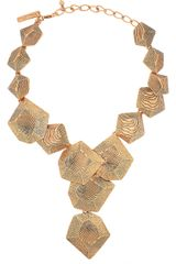 Oscar de la Renta 24karat Goldplated Woodeffect Necklace - Lyst