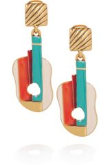 Oscar De La Renta Enameled 24karat GoldPlated Guitar Clip Earrings in Gold - Lyst