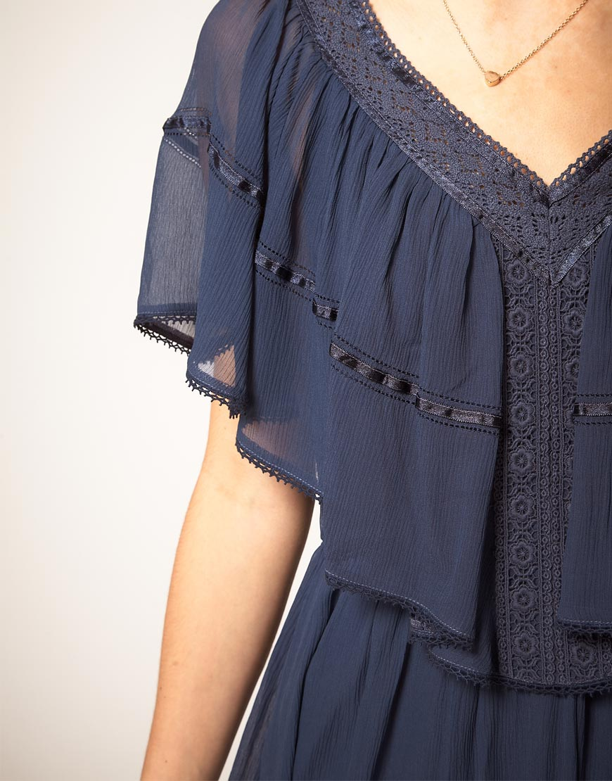 Lyst Pepe Jeans Pepe Jeans Dress With Cape Top In Blue