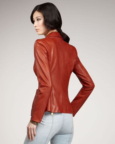 Rachel Zoe Sullivan Leather Blazer in Brown (rust) - Lyst