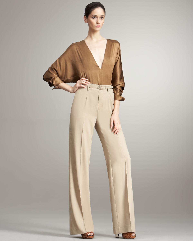 Ralph Lauren Collection Sheila Wideleg Wool Pants In Brown