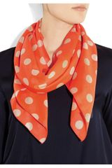 Sonia By Sonia Rykiel Polkadot Cotton Voile Scarf in Orange - Lyst