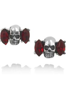 Tom Binns Momento Mori Silverplated Swarovski Crystal Skull Earrings - Lyst