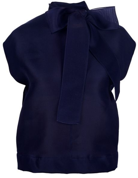 Saint Laurent Bow Top in Blue - Lyst