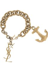 Saint Laurent Goldplated Anchor Charm Bracelet - Lyst