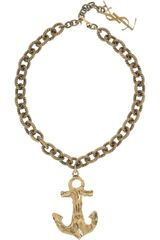 Saint Laurent Goldplated Anchor Necklace - Lyst