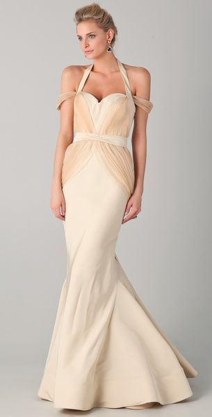 Zac Posen Off The Shoulder Gown with Halter Straps in Beige (ivory) - Lyst