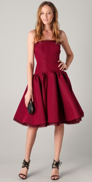 Zac Posen Strapless Dress with Full Skirt - Lyst