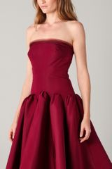 Zac Posen Strapless Dress with Full Skirt in Red - Lyst