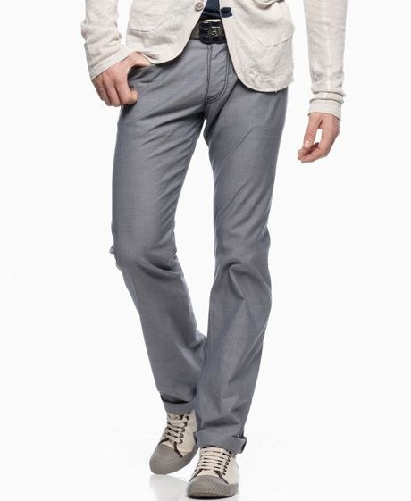 Armani Jeans Straight Leg Heathered Pants in Gray for Men - Lyst