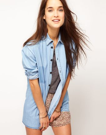 ASOS Collection Asos Denim Boyfriend Shirt with Shadow Pocket - Lyst