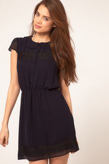 ASOS Collection  Skater Dress with Lace Detail - Lyst