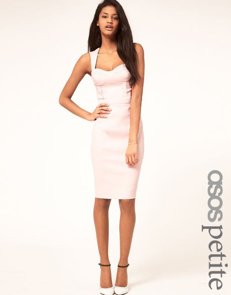 Asos Collection  Pencil Dress with Cut Out Back in Pink (nude) - Lyst