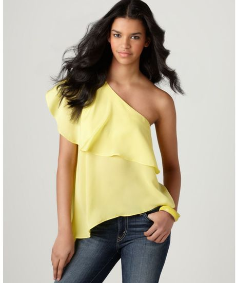 Bcbgeneration Sleeveless One Shoulder Ruffle Tiered A Line Asymmetrical Hem in Yellow (lemon glow) - Lyst