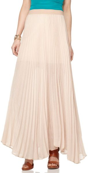 Bcbgmaxazria Estel Pleated Maxi Skirt in Pink - Lyst