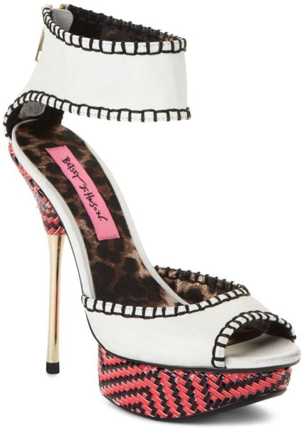 betsey johnson the tricksy shoe in white multi in white lyst