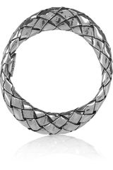 Bottega Veneta Set Of Four Silver Intrecciato Stacking Rings in Silver - Lyst