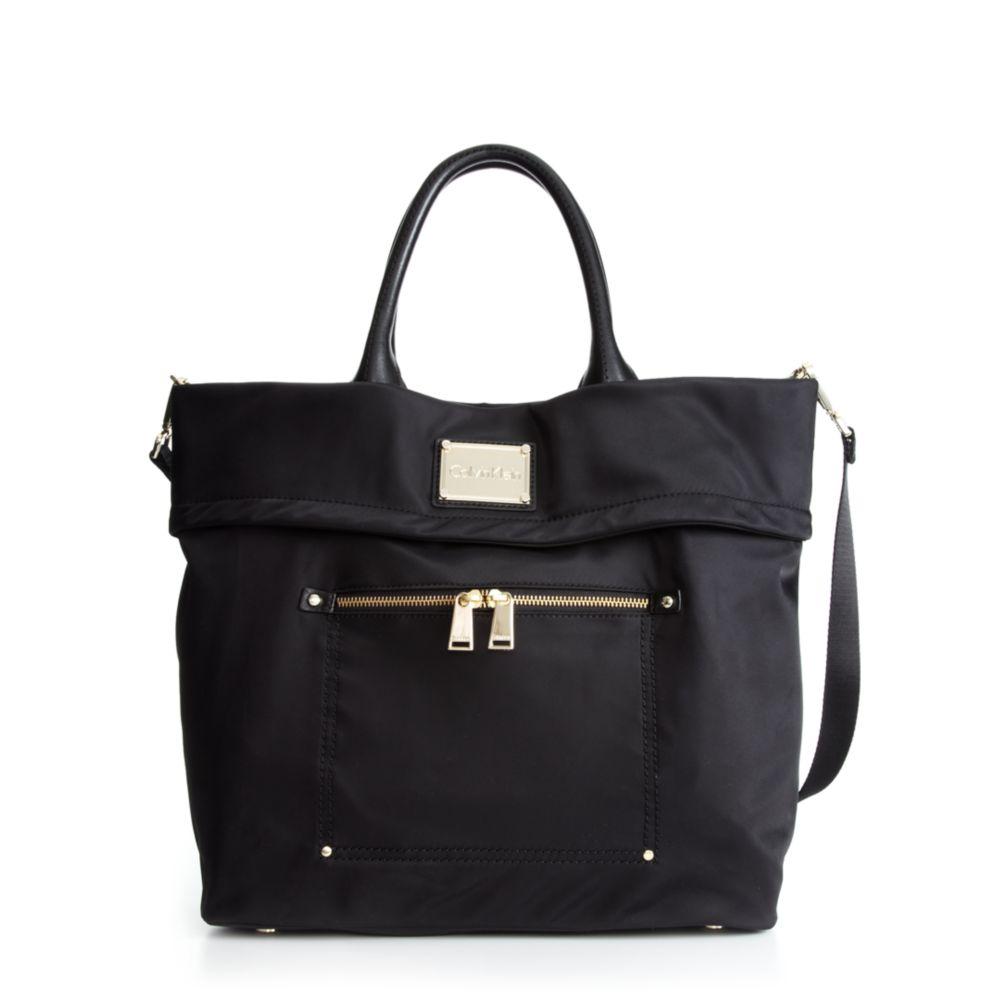 ccb5ad141da Calvin Klein Nylon Tote in Black - Lyst