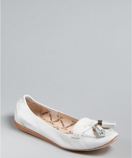 Celine Tassel Detail Loafers in White - Lyst