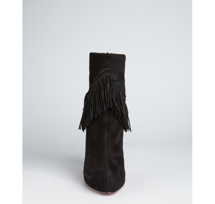 8b8b4c5a4a8f ... ireland lyst christian louboutin black suede rom 120 fringe ankle boots  in 3955f 18cc2 ...