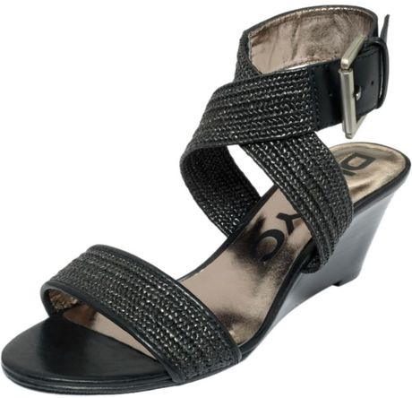Dkny Erica Wedge Sandals in Black - Lyst