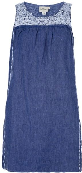 Dkny Embroidered Sleeveless Dress in Blue - Lyst