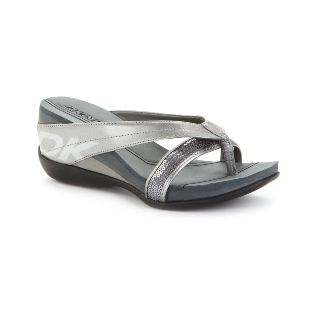 dkny henrietta sandals in gray gunmetal metallic lyst