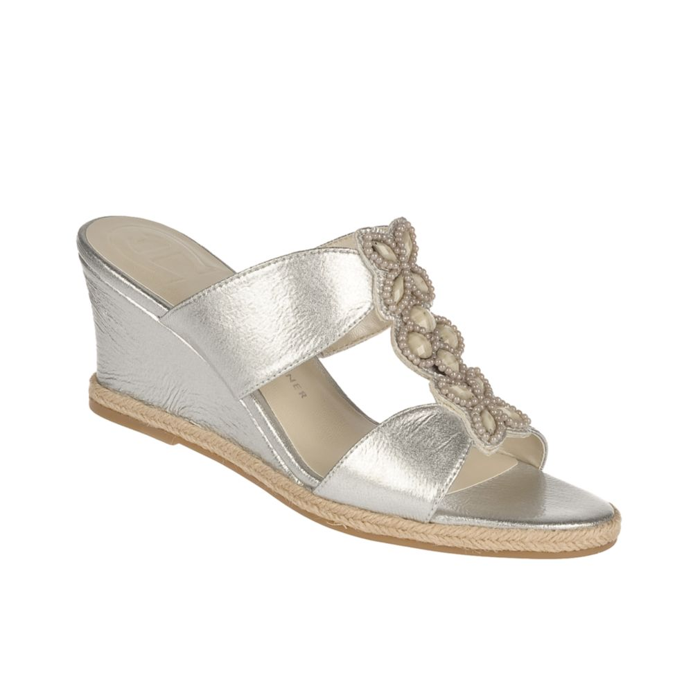 Etienne Aigner Haste Wedge Sandals In Silver