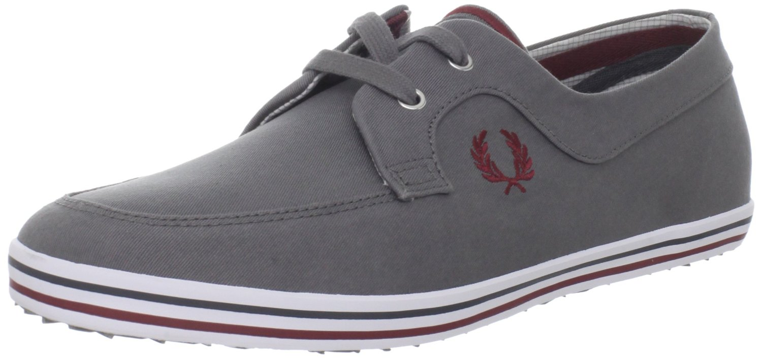 Fred Perry Fred Perry Mens Drury Twill Boat Shoe in Gray ...