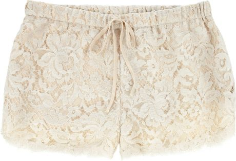 Haute Hippie Lace Cottonblend Mini Shorts in White (ivory) - Lyst