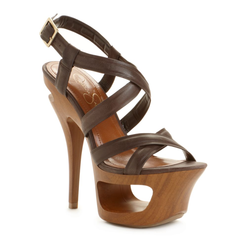 21ba2dbcc Lyst - Jessica Simpson Andy Platform Sandals in Brown