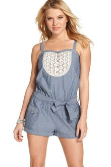 Jessica Simpson Sleeveless Belted Chambray - Lyst