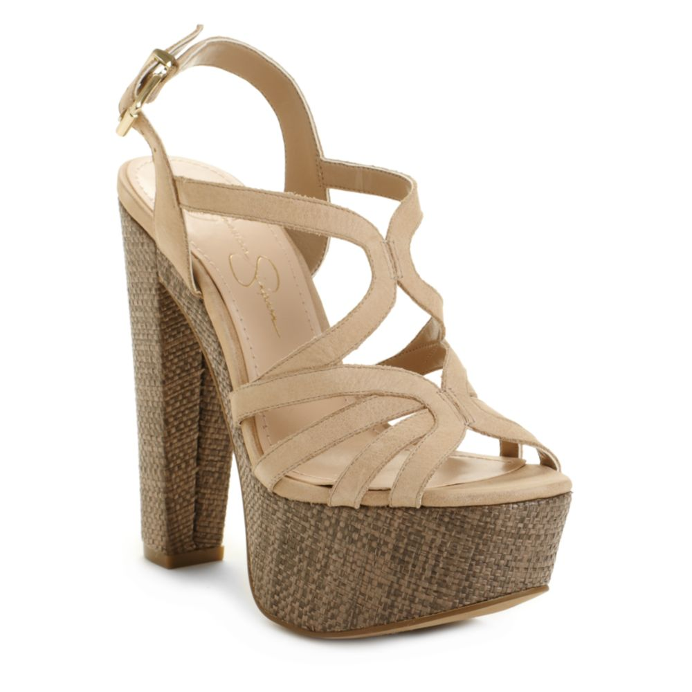 492fd4f0bc Jessica Simpson Cizal Wedge Sandals in Natural - Lyst