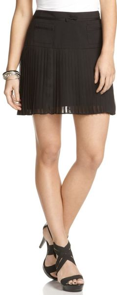 Jessica Simpson Pleated Bow Tie A-line Skirt in Black
