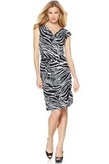 Jones New York Cap Sleeve Printed Animal Print Belted Cowlneck - Lyst