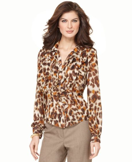 Jones New York Long Sleeve Ruffle Button Down in Animal - Lyst