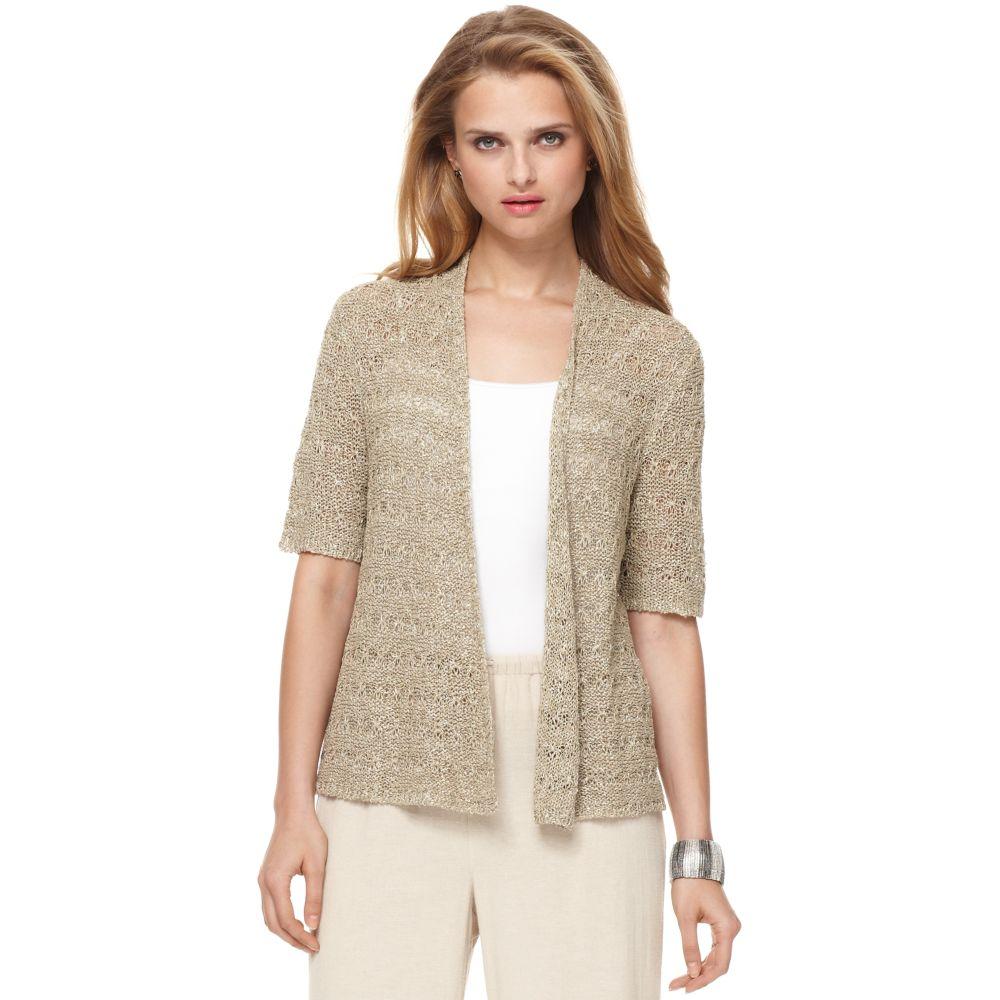Jones new york Short Sleeve Open Front Cardigan in Natural | Lyst