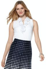 Jones New York Sleeveless Ruffle Vneck - Lyst