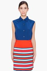 Marc By Marc Jacobs Blue Silk Miro Blouse - Lyst