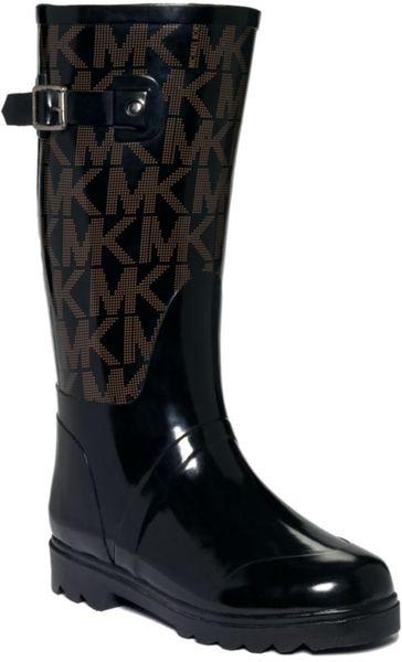Michael Kors Mk Logo Rain Boots In Black Lyst