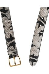 Miu Miu Star Print Watersnake Waist Belt in Gray (brown) - Lyst